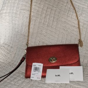 NWT BEAUTIFUL COACH RED METALLIC CROSSBODY